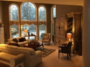 """The """"after"""" look of the client's home with properly scaled pieces and redesign."""